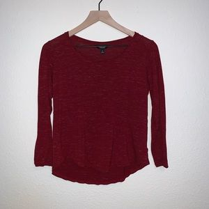Simply Vera Vera Wang Red Fitted Long Sleeve Top